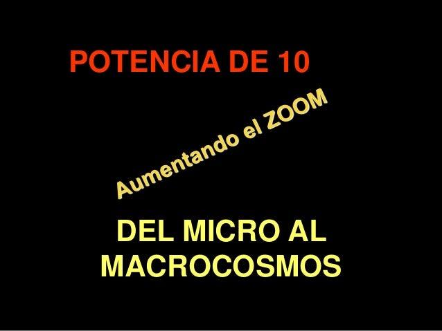 . POTENCIA DE 10 DEL MICRO AL MACROCOSMOS