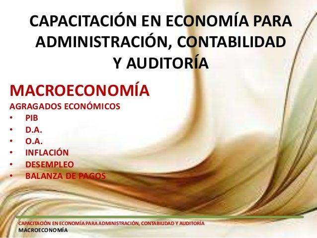 CAPACITACIÓN EN ECONOMÍA PARA ADMINISTRACIÓN, CONTABILIDAD Y AUDITORÍA MACROECONOMÍA CAPACITACIÓN EN ECONOMÍA PARA ADMINIS...