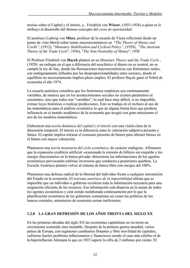 . Macroeconomía Intermedia: Teorías y Modelos teorías sobre el Capital y el interés, y, Friedrich von Wieser, (1851-1926) ...