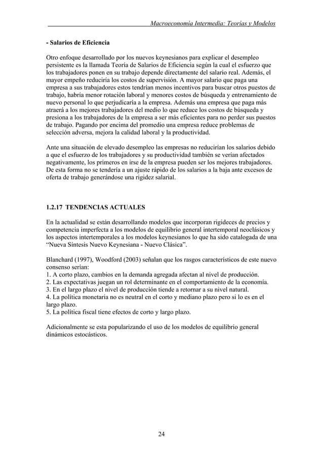 . Macroeconomía Intermedia: Teorías y Modelos - Salarios de Eficiencia Otro enfoque desarrollado por los nuevos keynesiano...