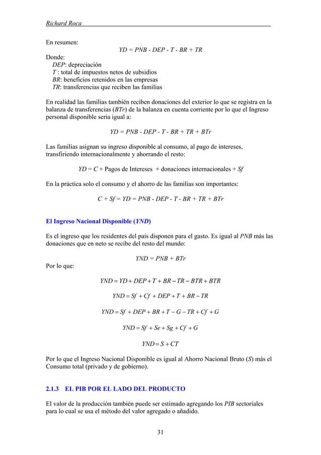 Richard Roca . En resumen: YD = PNB - DEP - T - BR + TR Donde: DEP: depreciación T : total de impuestos netos de subsidios...