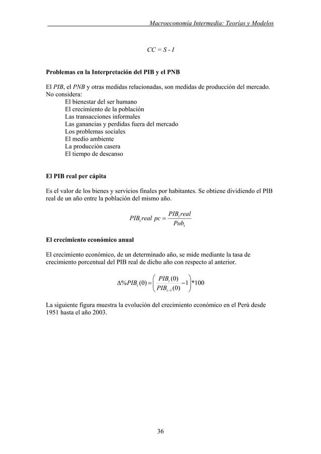 . Macroeconomía Intermedia: Teorías y Modelos CC = S - I Problemas en la Interpretación del PIB y el PNB El PIB, el PNB y ...