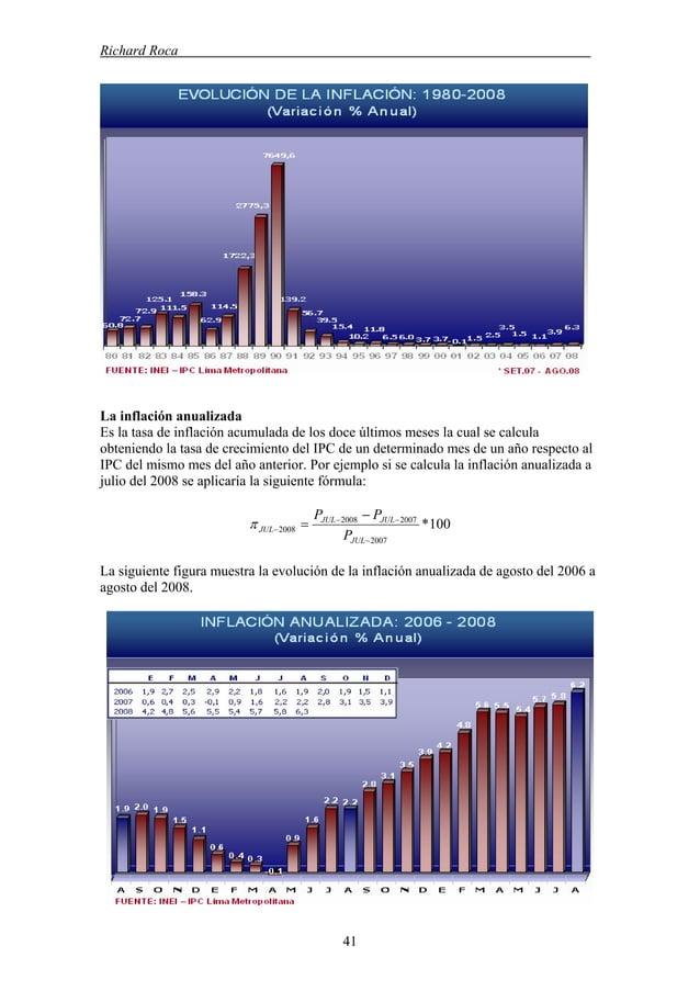 Richard Roca . La inflación anualizada Es la tasa de inflación acumulada de los doce últimos meses la cual se calcula obte...