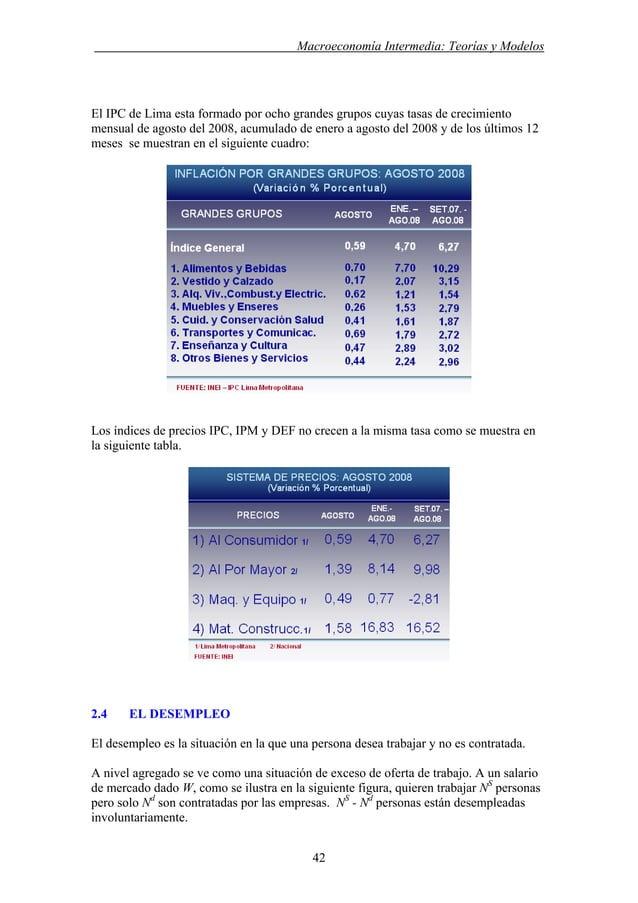 . Macroeconomía Intermedia: Teorías y Modelos El IPC de Lima esta formado por ocho grandes grupos cuyas tasas de crecimien...