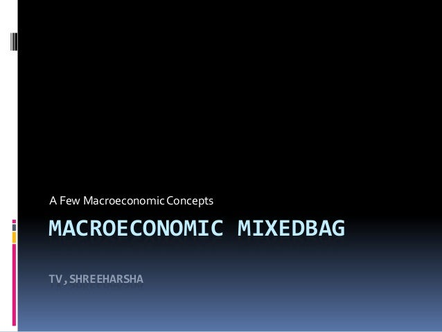 A Few Macroeconomic Concepts  MACROECONOMIC MIXEDBAG TV,SHREEHARSHA