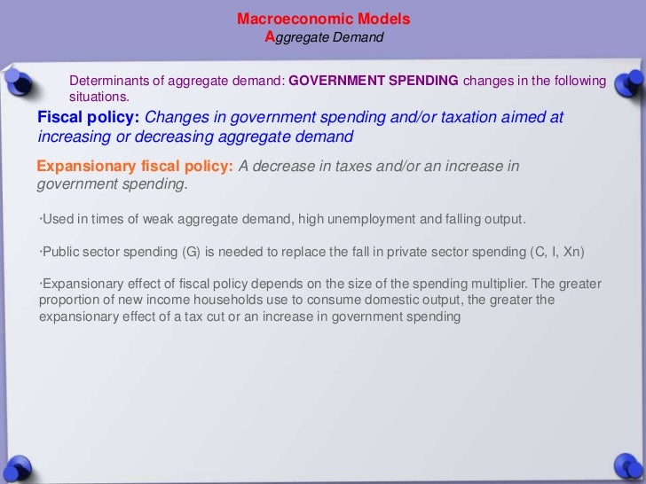 Macroeconomic Models                                     Aggregate Demand     Determinants of aggregate demand: GOVERNMENT...