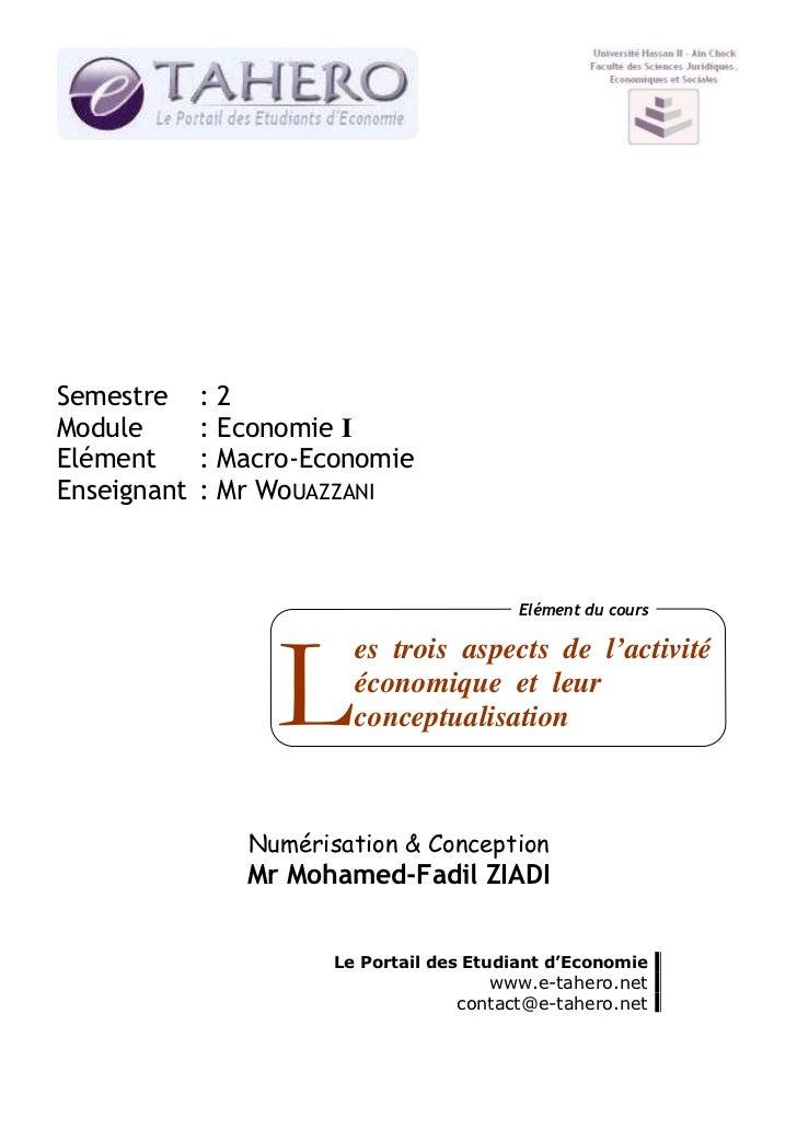 Semestre     :2Module       : Economie IElément      : Macro-EconomieEnseignant   : Mr WoUAZZANI                          ...