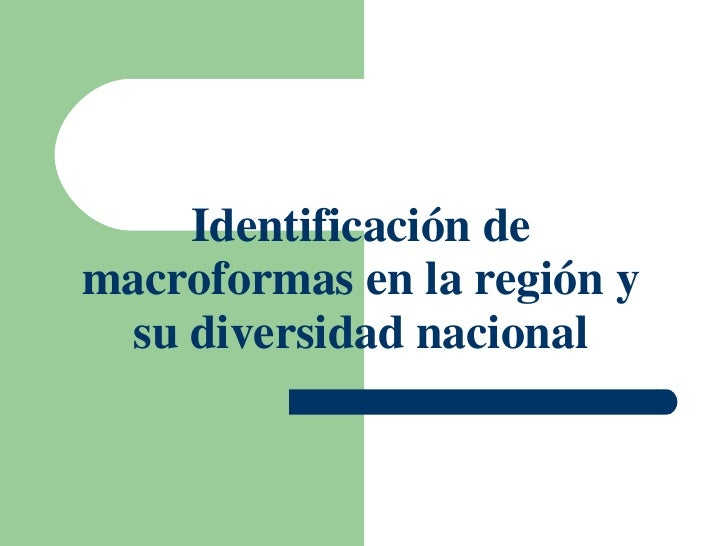 Identificación de macroformas en la región y su diversidad nacional
