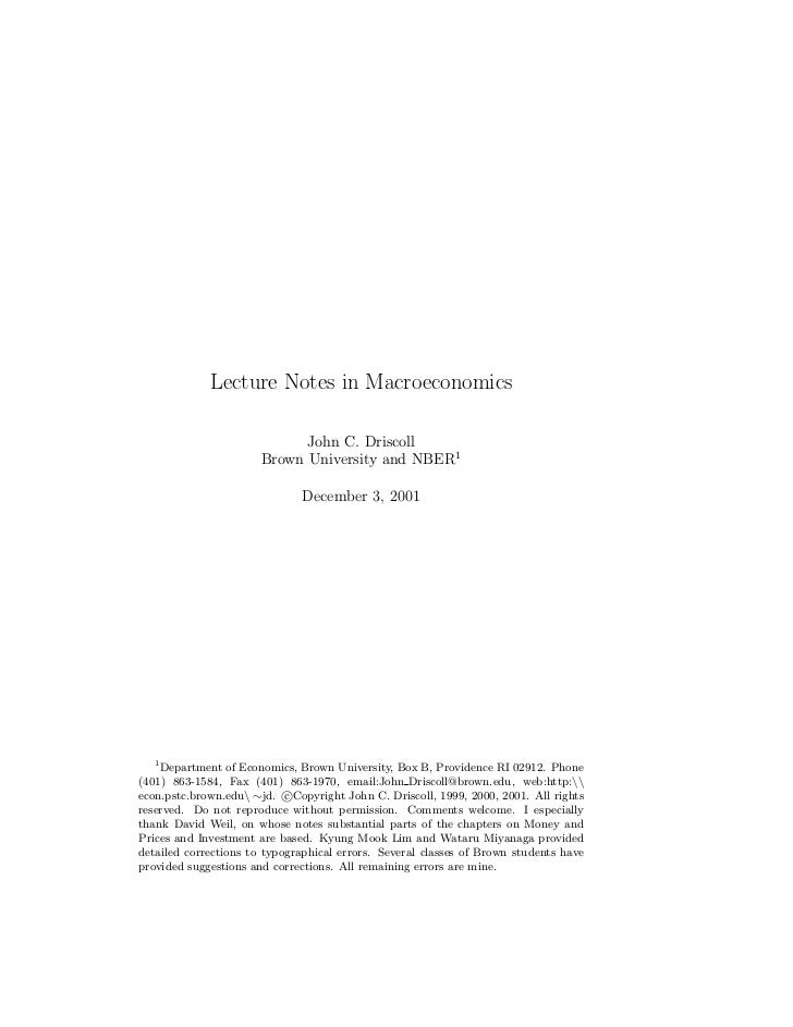 Lecture Notes in Macroeconomics                             John C. Driscoll                       Brown University and NB...
