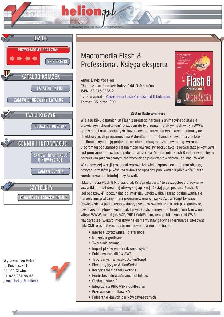 IDZ DO          PRZYK£ADOWY ROZDZIA£                                          Macromedia Flash 8                          ...