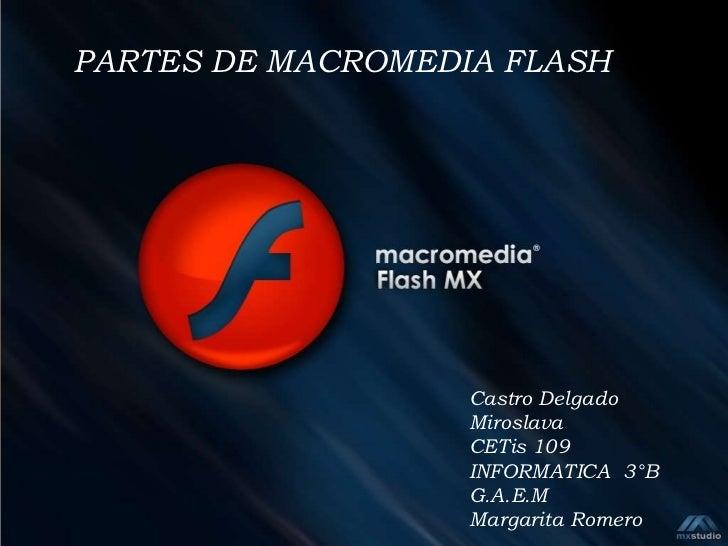 PARTES DE MACROMEDIA FLASH                   Castro Delgado                   Miroslava                   CETis 109       ...