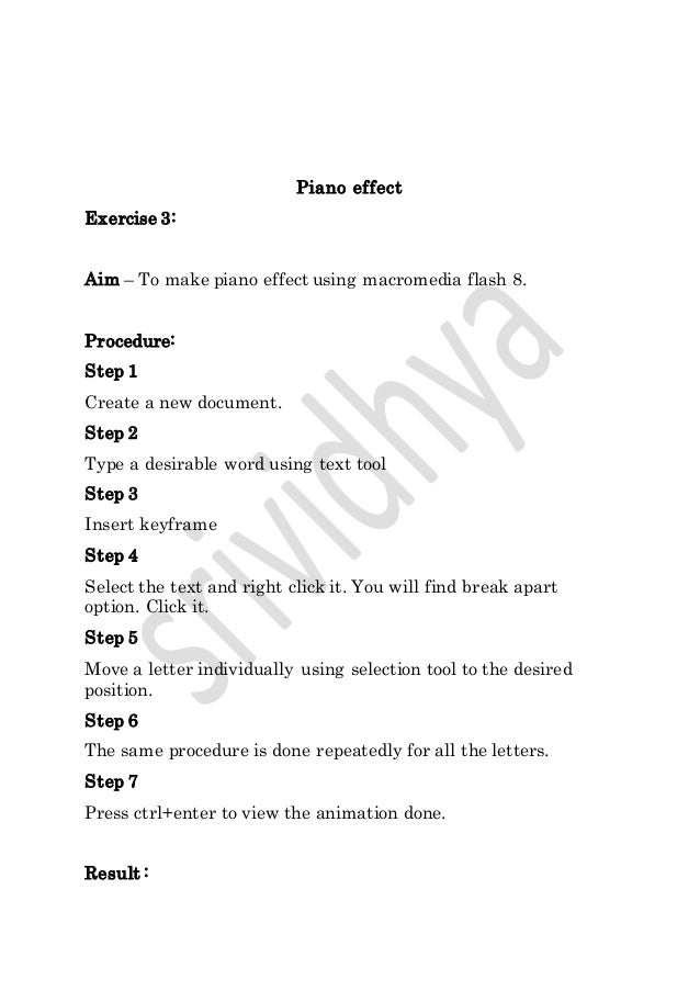 simple exercises in Macromedia flash 8