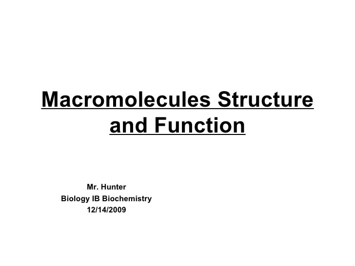 Macromolecules Structure and Function Mr. Hunter Biology IB Biochemistry 12/14/2009