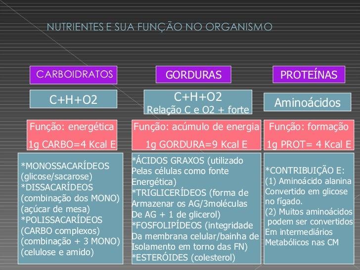 <ul><li>CARBOIDRATOS </li></ul>GORDURAS PROTEÍNAS *MONOSSACARÍDEOS  (glicose/sacarose) *DISSACARÍDEOS (combinação dos MONO...