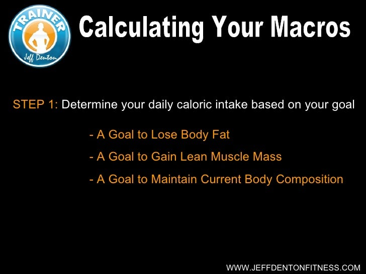 STEP 1: Determine your daily caloric intake based on your goal             - A Goal to Lose Body Fat             - A Goal ...