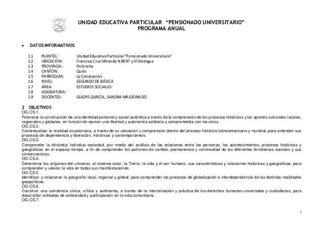 """1 UNIDAD EDUCATIVA PARTICULAR """"PENSIONADO UNIVERSITARIO"""" PROGRAMA ANUAL  DATOS INFORMATIVOS 1.1 PLANTEL: UnidadEducativaP..."""