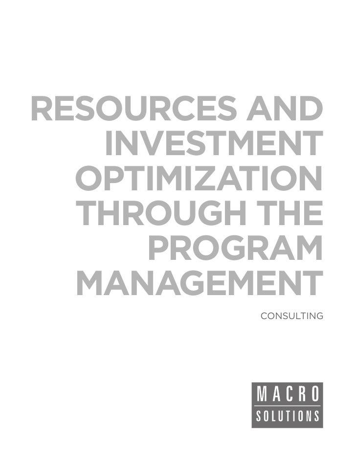 RESOURCES AND   INVESTMENT  OPTIMIZATION  THROUGH THE     PROGRAM  MANAGEMENT          CONSULTING