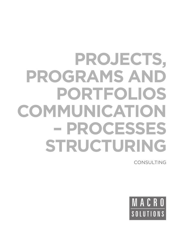PROJECTS, PROGRAMS AND    PORTFOLIOSCOMMUNICATION    – PROCESSES   STRUCTURING            CONSULTING