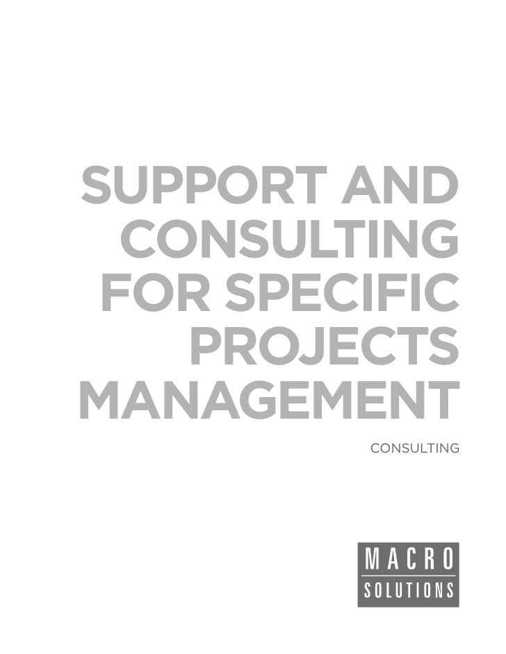 SUPPORT AND  CONSULTING FOR SPECIFIC    PROJECTSMANAGEMENT         CONSULTING