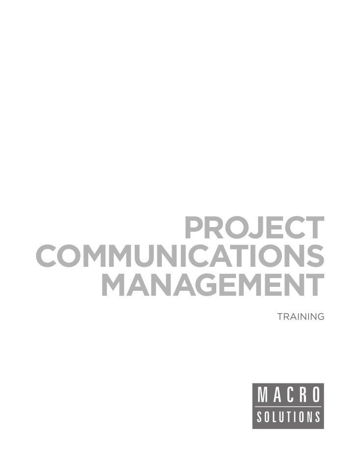 PROJECTCOMMUNICATIONS   MANAGEMENT           TRAINING