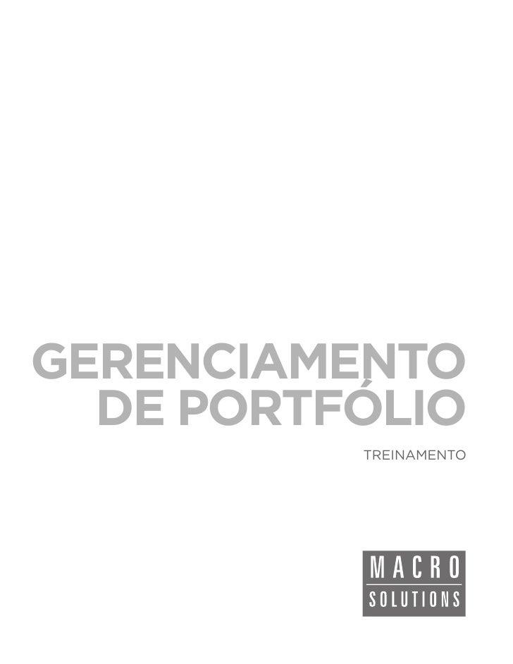 GERENCIAMENTO  DE PORTFÓLIO          TREINAMENTO