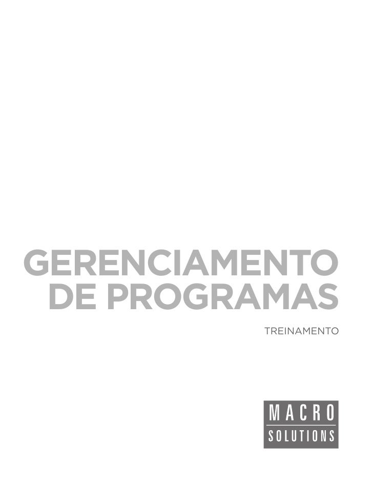 GERENCIAMENTO DE PROGRAMAS         TREINAMENTO
