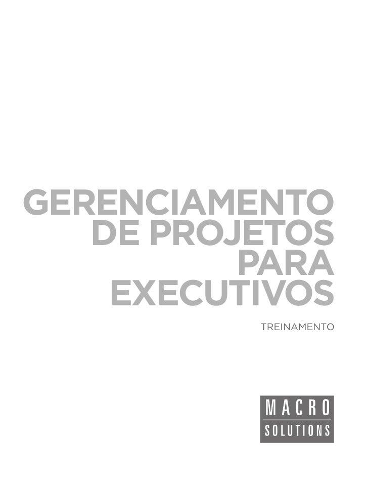 GERENCIAMENTO   DE PROJETOS          PARA    EXECUTIVOS          TREINAMENTO