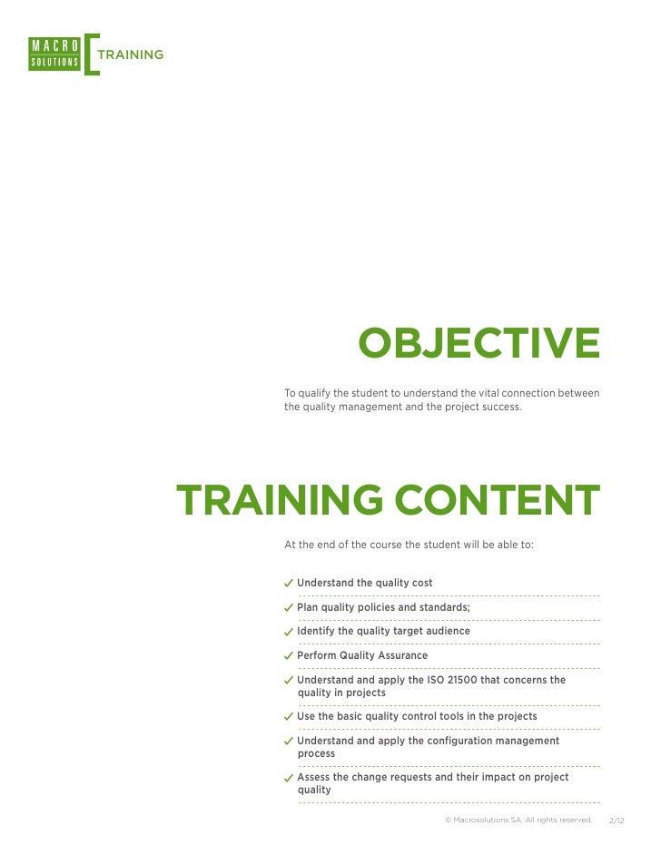 Macrosolutions Training: Project Quality Management Slide 2