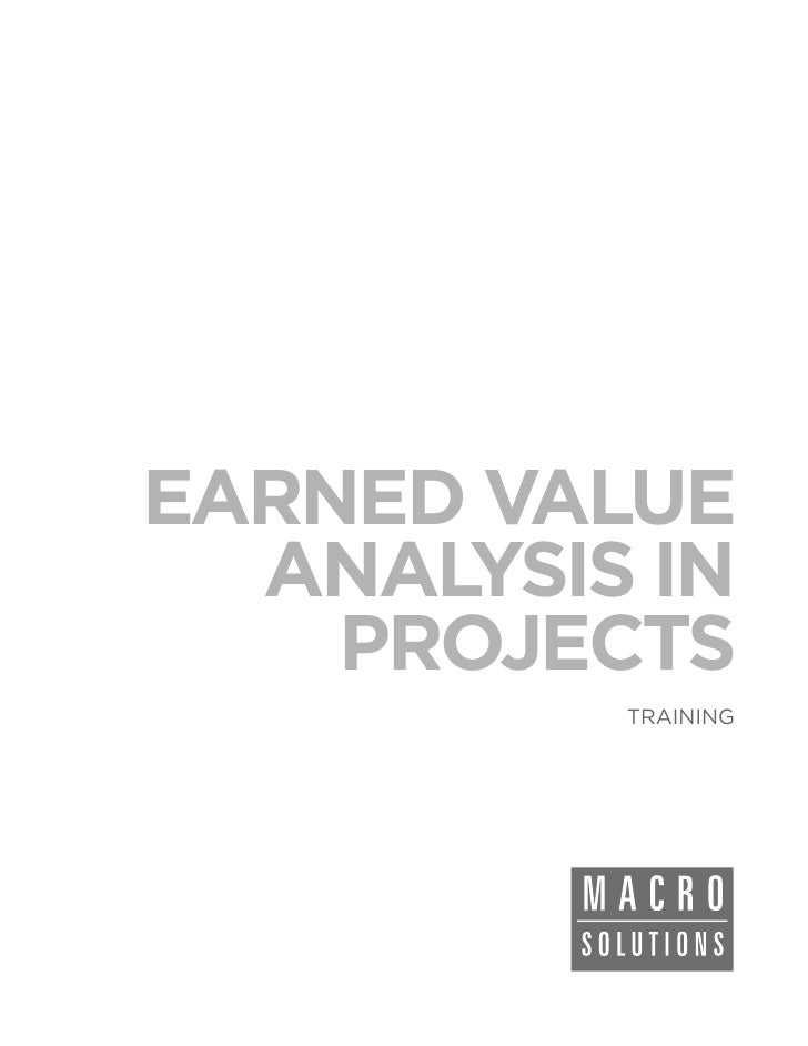 EARNED VALUE  ANALYSIS IN    PROJECTS          TRAINING