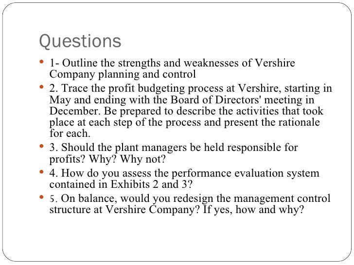 vershire company Free essay: escribe the strengths and weaknesses in planning and control systemvershire companysettlement:a pros:1 in 1972 the industry experienced a.