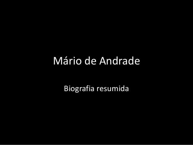 Mário de Andrade  Biografia resumida