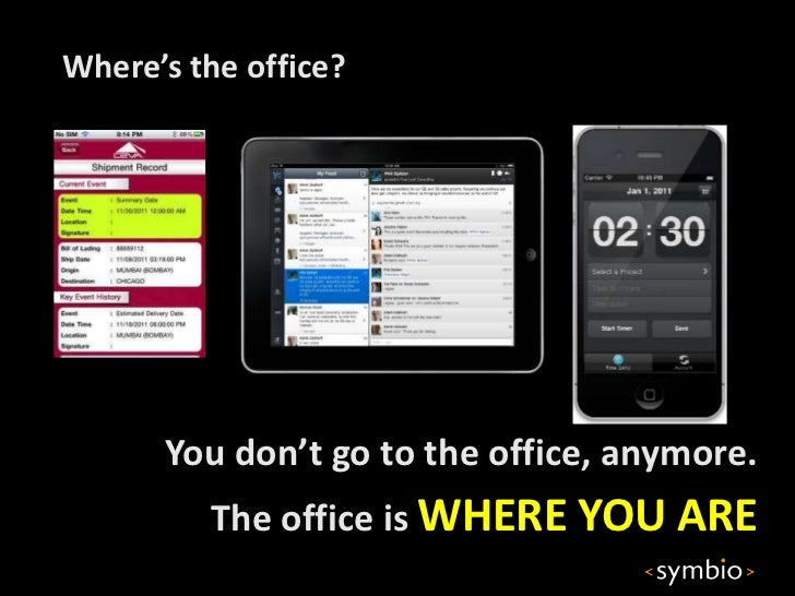 Where's the office?      You don't go to the office, anymore.         The office is WHERE YOU ARE