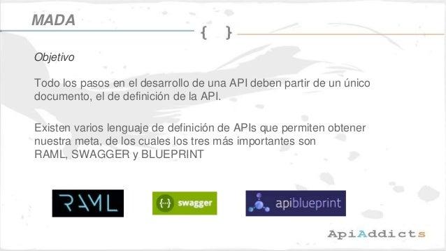 Todo los pasos en el desarrollo de una API deben partir de un único documento, el de definición de la API. Existen varios ...