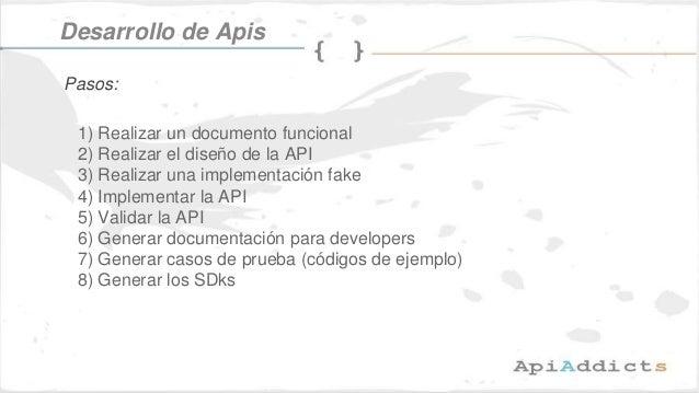 1) Realizar un documento funcional 2) Realizar el diseño de la API 3) Realizar una implementación fake 4) Implementar la A...