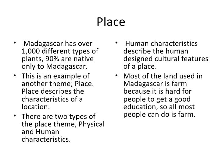 Madagascar and the five themes of geography