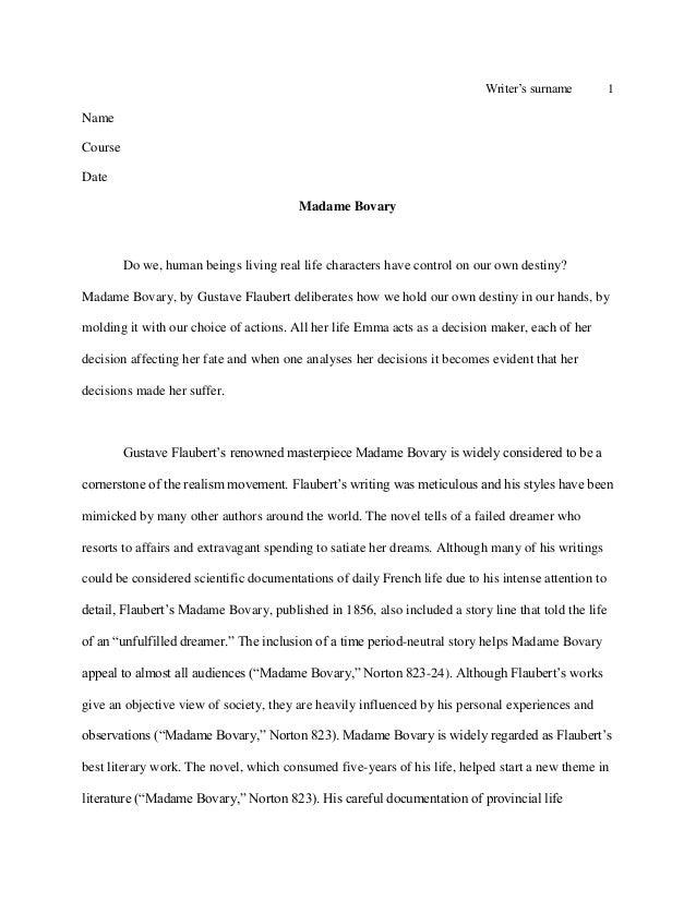critical analysis madame bovary essays