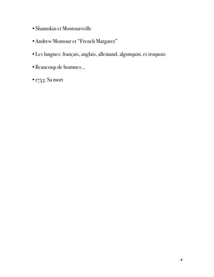 """•Shamokin et Montoursville•Andrew Montour et """"French Margaret""""•Les langues: français, anglais, allemand, algonquin, et iro..."""