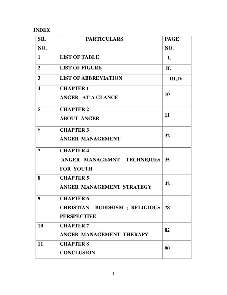 INDEX SR.            PARTICULARS               PAGE NO.                                      NO. 1      LIST OF TABLE     ...