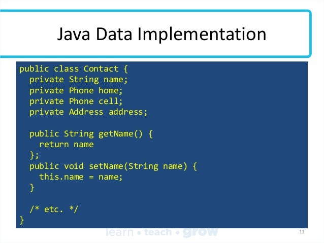 Java Data Implementation public class Contact { private String name; private Phone home; private Phone cell; private Addre...