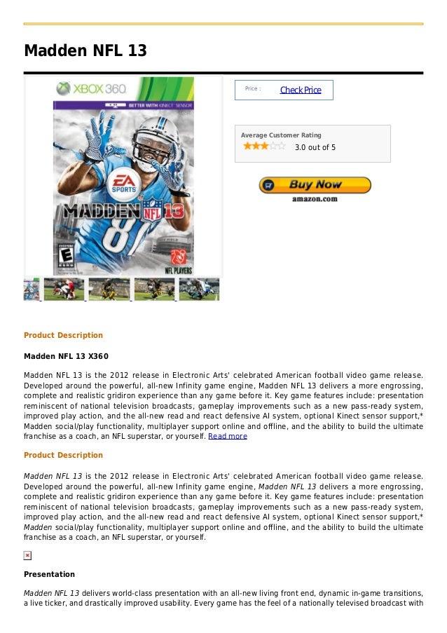 Madden NFL 13                                                               Price :                                       ...