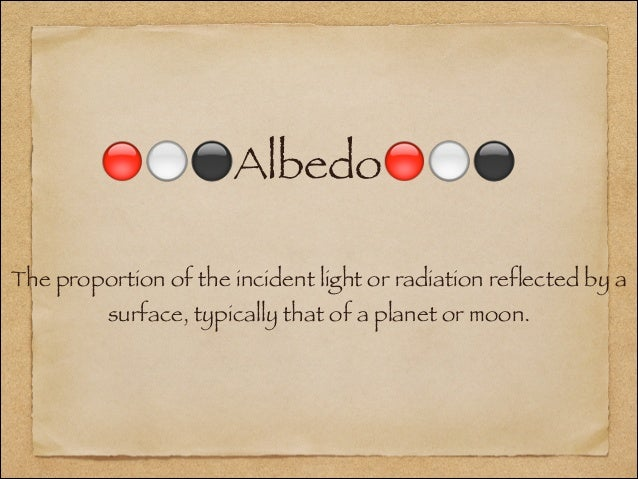 🔴⚪⚫Albedo🔴⚪⚫The proportion of the incident light or radiation reflected by a          surface, typically that of a planet ...