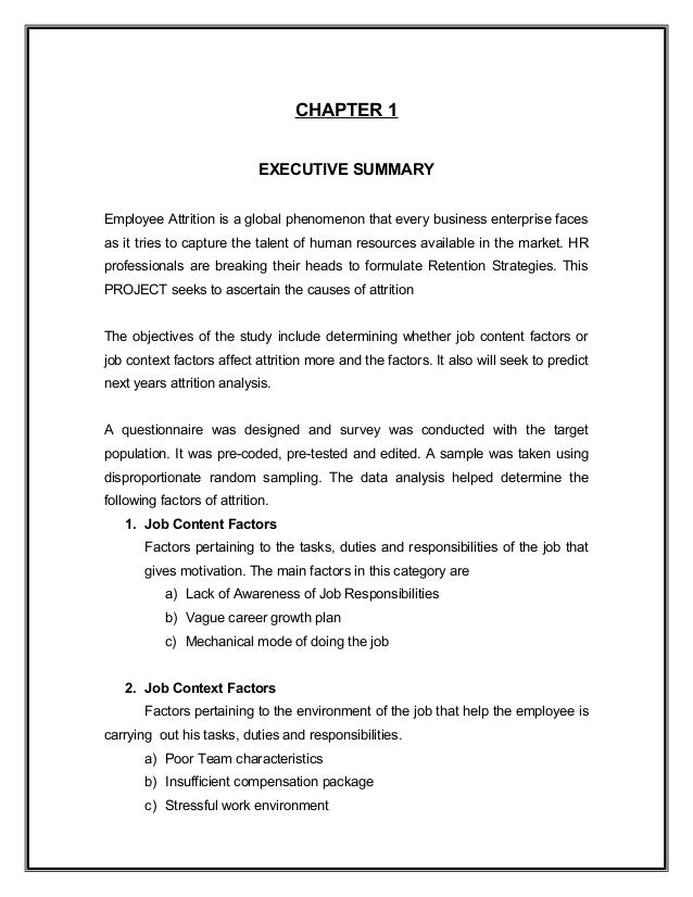 chapter 1 attrition rate in the Will summary whole of the chapter 1 as our conclusion 11 research background researchers are continually fascinated with understanding individual turnover decision in the organization turnover rate is the rate which the company or employer gains and losses employee in another word, turnover rate.