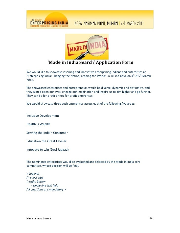 'Made in India Search' Application Form We would like to showcase inspiring and innovative enterprising Indians and enterp...