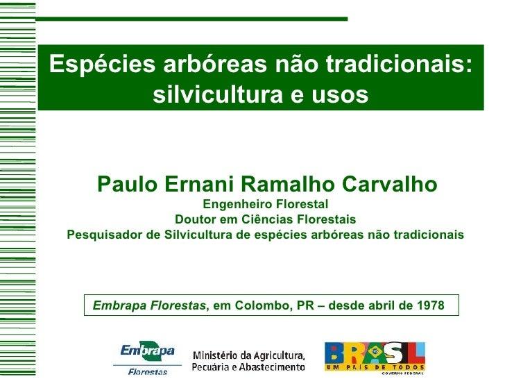 Espécies arbóreas não tradicionais: silvicultura e usos  Paulo Ernani Ramalho Carvalho Engenheiro Florestal Doutor em C...