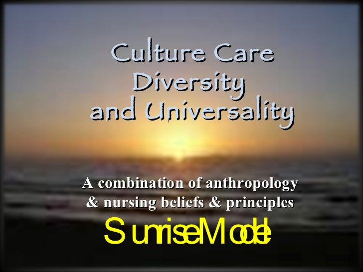 Sunrise Model Culture Care Diversity  and Universality A combination of anthropology & nursing beliefs & principles
