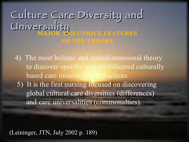Theory of culture care diversity and universality