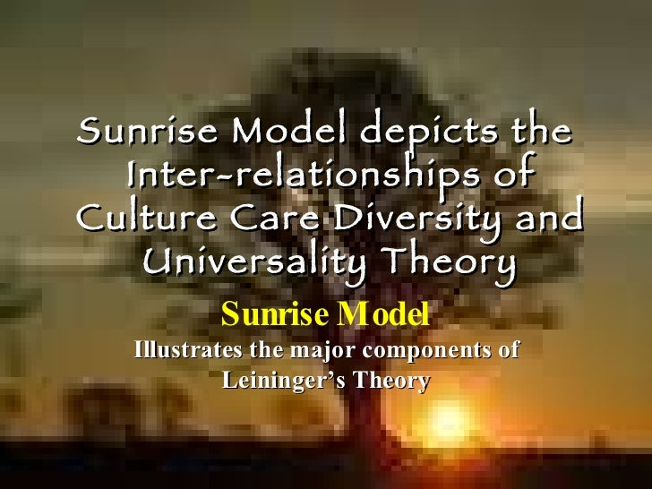 Sunrise Model depicts the  Inter-relationships of Culture Care Diversity and Universality Theory Sunrise Model Illustrates...