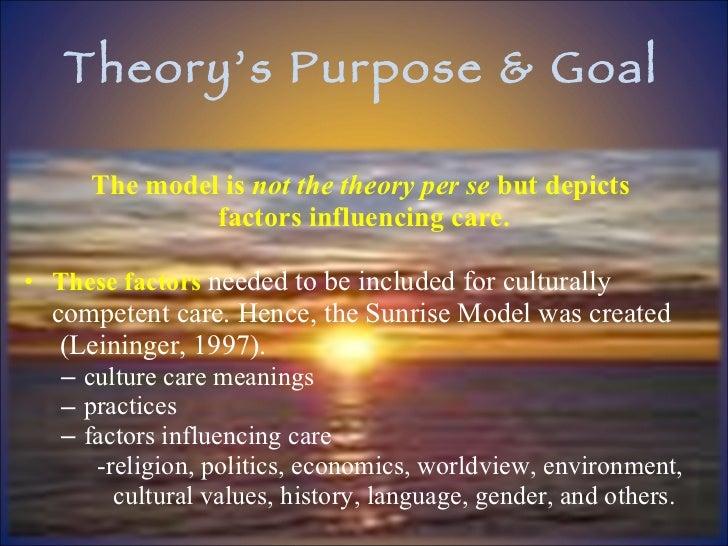 Theory's Purpose & Goal <ul><li>The model is  not the theory per se  but depicts  </li></ul><ul><li>factors influencing ca...