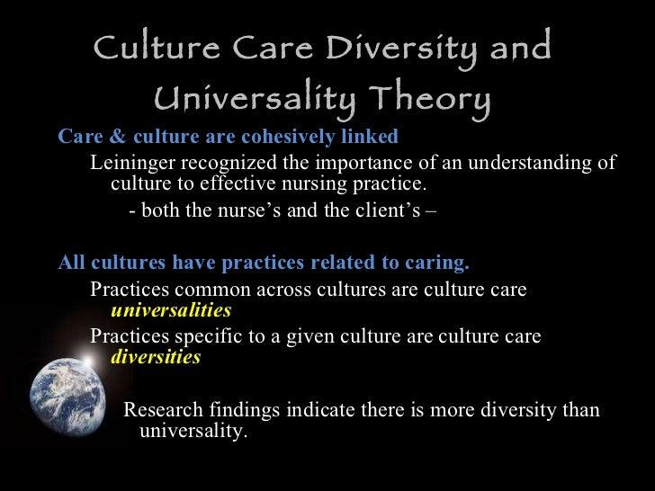 Culture Care Diversity and Universality Theory <ul><li>Care & culture are cohesively linked </li></ul><ul><ul><li>Leininge...