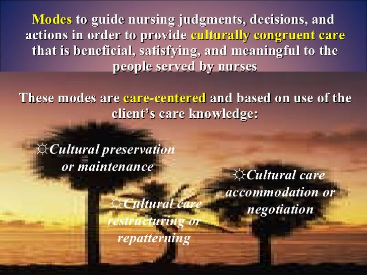 Modes  to guide nursing judgments, decisions, and  actions in order to provide  culturally congruent care  that is benefic...